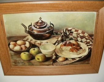 Vintage 1960 Picture, Kitchen Decor, Framed Print, 3 Dimensional, Table Scene, Kitchen Art, Wall Hanging, Collectible, Food Picture, Unique