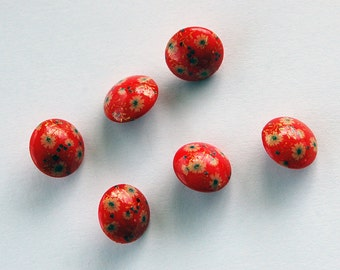 Vintage Glass Buttons 6 Cherry Red Floral Glass Buttons 12mm Painted Flower