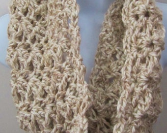 Crocheted Cowl, Infinity Scarf, Women's Accessories, Chunky Cowl, Tan