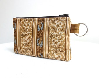 Neutral Zippered Bag Brown, Ivory and Blue / Coin Purse / Id Case / Gadget Pouch with Split Ring - READY TO SHIP