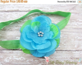 Turquoise & Lime Green Flower Headband, Layered Flower w/ Rhinestones Lime Green Headband or Hair Clip, The Mia, Baby Child Girls Headband