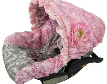 Ritzy Baby Baby Pink Princess 3D Infant Car Seat Cover, Includes Matching Strap Set