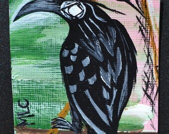 Crow Black Bird Aceo, Wizard, Atc, Painting, Original Acrylic