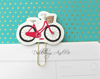 Bicycle Planner Clip, Red Bicycle Paper Clip, Vinyl Paper Clip, Accessory For Planner, Bicycle With Basket Planner Clips, Vinyl Planner Clip