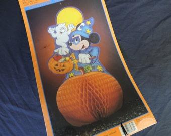 Disney honeycomb paper die cut Halloween Mickey Mouse pumpkin centerpiece decoration new old stock