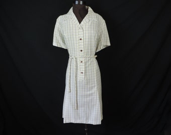1950's plaid day dress, windowpane check house dress, casual wear, plus size 1X, 2X, new old stock