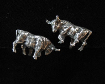 Sterling Silver Bull Earrings, Screw Back Findings
