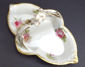 Limoges A Lanternier Peony Flower Handled Dish Vintage Serving Dish