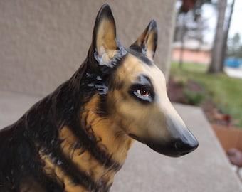 Vintage Ceramic Figurine Large German Shepherd Dog Black Brown Collectible Unique Pet Lover Made in Japan Home Decor