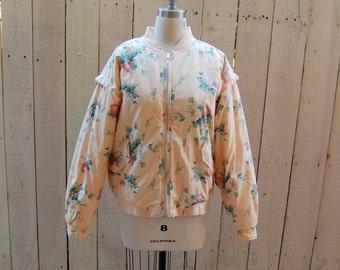 Pink Floral Bomber Jacket - Size Large