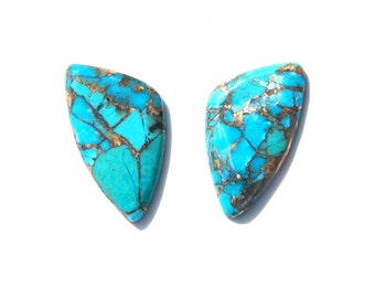 Kingman Turquoise Infused with Bronze Oval Cabochon Pair