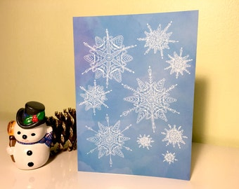 Winter Snowflake Greeting Cards, set of 5