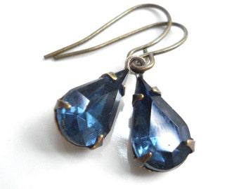 Dark Blue Drop Earrings In Brass Sapphire Blue Earrings Vintage Style Victorian Small Blue Earrings Brass Jewelry