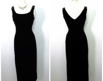 Black Velvet Dress 80s Maxi Bow Evening Cocktail Party dress Small