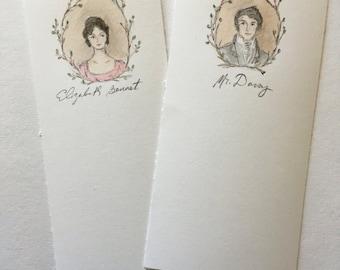 Pride and Prejudice original watercolor bookmarks.