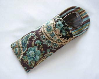 Glasses Case Quilted Floral Paisley Teal Brown Gold