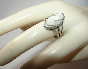 Free Shipping Edwardian Genuine High Relief Greek Shell Cameo Hand Carved Sterling Silver Antique Ring