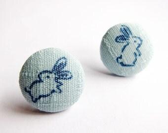 Button Earrings / Clip On Earrings - rabbit earrings