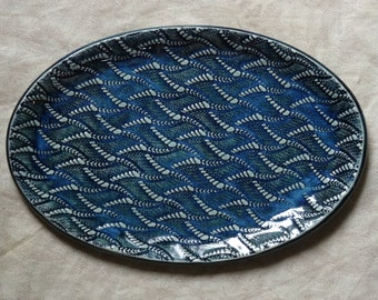 Blue green, textured, ceramic, platter