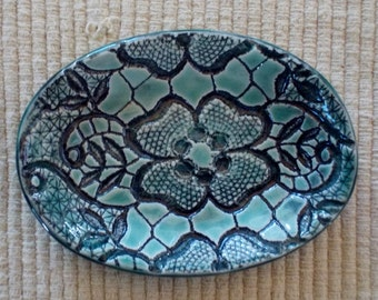 Blue green, pottery, oval tray