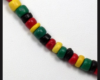 Rasta Surfer Necklace Black, Red, Yellow and Green Coco Beads Necklace (16 and 18 inches in Size)