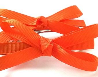 Vibrant Orange Hair Bows Set of 2