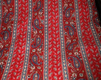 red paisley print quilted fabric 2 yards yardage