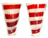 Vintage RED WHITE STRIPE Glass Sconce Pair Electric Wall Lamp Luminaire Mod