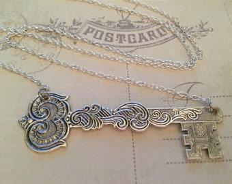 Antique Silver Key Necklace, Skeleton Key, Vintage Key Necklace, Key Jewelry, Charm Necklace, Gift for Her