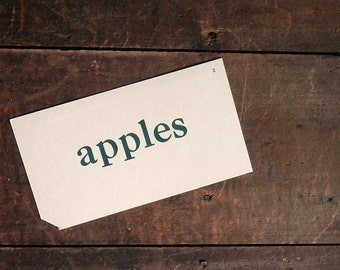 Vintage Vocabulary Flashcard, Apples Flashcard, Primer Flash Card, Whitman Pre-Primer Word Card