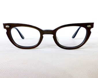 Vintage 1950's Bausch & Lomb Cat Eye Eyeglass Frames // 50's Women's Bronze Glasses // USA // #M10