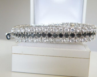 Sterling Silver 925 3 Row Cluster Cubic Zirconia Black and White Tennis Statement Bracelet
