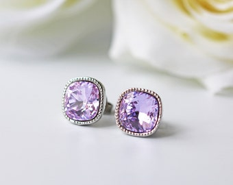 Violet Swarovski Crystal Titanium Stud Earrings Purple Square Silver Earrings