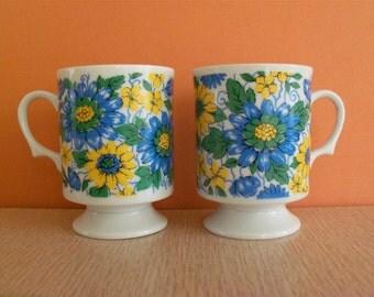 Vintage 70s Footed Ceramic Mugs - Set of 2