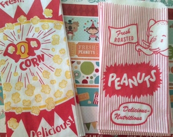 12 Popcorn & 12 Peanut Bags Perfect For Movie Night- Circus or Carnival And Baseball Parties 24 Bags 12 of Each