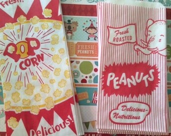 25 Popcorn & 25 Peanut Bags Perfect For Movie Night- Circus or Carnival And Baseball Parties 50 Bags 25 of Each
