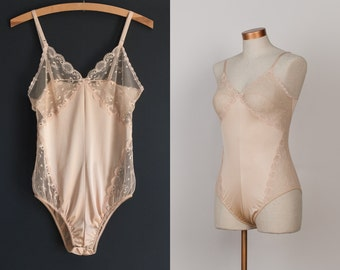 Vintage Lace Bodysuit - 1970s Light Nude One Piece Teddy / Romper with Sheer Lace - size 36, M