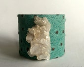 "leather cuff bracelet  - turquoise leather with crystal cluster - 2"" wide"