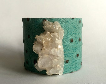 """leather cuff bracelet  - turquoise leather with crystal cluster - 2"""" wide"""