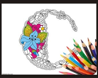 """Letter """"C"""" Lilly style alphabet  Adult coloring page"""