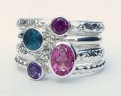4 Birthstone Stacking Rings w/ 7x5mm Gemstone- Mothers Ring - Family Ring - Stackable Rings - Birthstone Rings - Sterling Silver