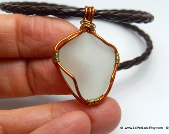 FOR HIM or HER - Pendant with genuine sea glass from Amalfi Coast and eco leather