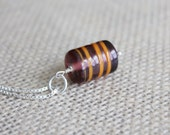 Plum Purple Pendant with Orange Swirls | Sterling Silver Glass Bead Pendant Necklace
