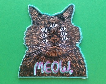 Meow Cat Embroidered Patch