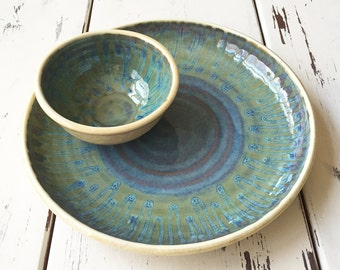 Ceramic Chip and Dip Set, Unique Hostess Gift, Pottery Chip and Dip, Wedding Gift