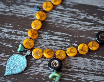 Boho Rustic Leaf Necklace - Bird Necklace - Orange and Turquoise - Woodland Necklace - Bead Soup Jewelry