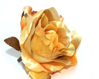 Metallic Yellow Gold Rose - Artificial Flowers, Silk Roses - PRE-ORDER