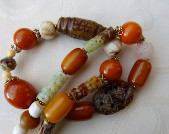 Antique Chinese Carved Hsiu Jade and antique Bakelite Necklace, statement necklace