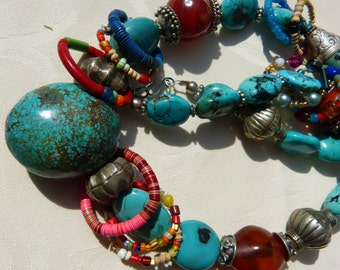 African Trade Beads Ringlets Necklace and Turquoise necklace, designed by Beadart-Austria, Arizona turquoise, African Amber