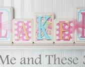 Wood letter name blocks-Aqua pink paisley polka dot girl
